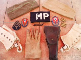 Large WWII US Army Military Police Gear and Insignia Grouping