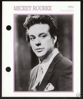 Mickey Rourke Atlas Movie Star Picture Biography Card