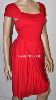 268 New BCBG Max Azria Mikaela Red Asymmetrical Draped Jersey Party