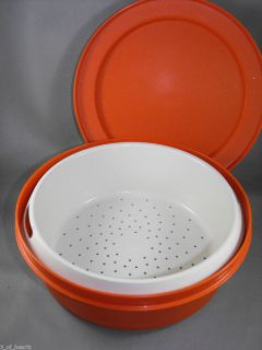 Tupperware Orange Round Vegetable Microwave Steamer Container