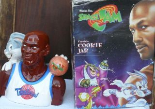 Space Jam Michael Jordan Bugs Bunny Cookie Jar 1996 Box Warner Bros