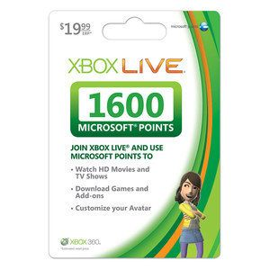 XBOX 360 Live MICROSOFT Points NEW UNSCRATCHED 1600 Card FREE FAST