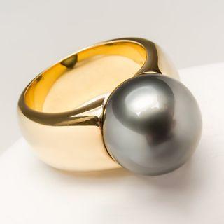 Mikimoto Black Sea Pearl Ladies Ring Solid 18K Gold Fine Estate