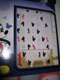 Mickey Mouse Ears Clear See thru Black Red Vinyl Shower Curtain New