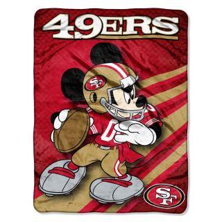 San Francisco 49ers Disney Mickey Mouse Micro Raschel Throw Blanket 46