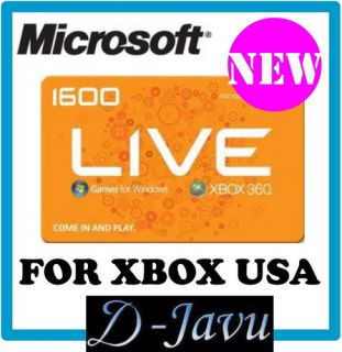 MICROSOFT POINTS CARD USA 1600 MS XBOX 360 LIVE GAMES FOR WINDOWS