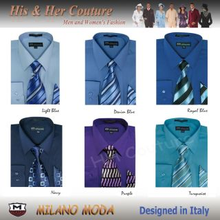 Blue Series Mens Milano Moda Dress Shirt Matching Tie Handkerchief