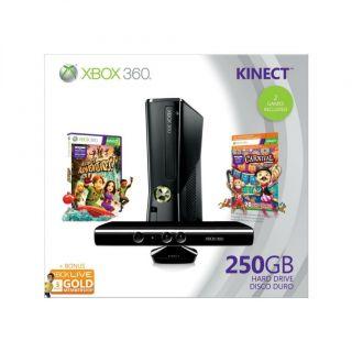 Microsoft Xbox 360 Slim Kinect 250 GB 2 Games Live Gold Holiday Bundle