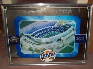 Miller Lite New Soldier Field 2003 Large Framed Bar Mirror Chicago