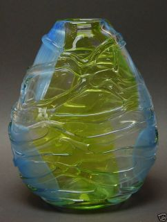 Bohemian Art Glass Vase by Mihai Topescu of Romania