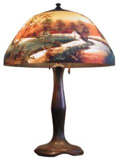 Signed Moe Bridges Reverse Painted Table Lamp 3015