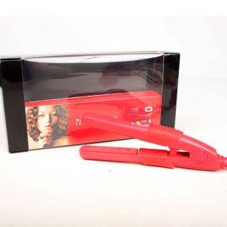 Red Mini Silk ISO Travel Non Slip Grip Professional Hair Straightener