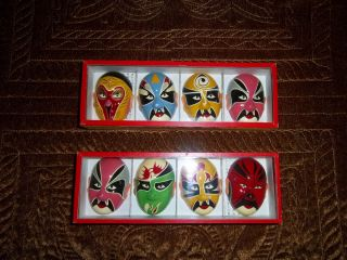 Opera Chinese 8 Mini Masks Make Up Boxed Set 2 Colorful Excellent Cond