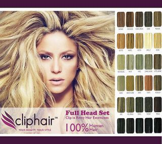 Clip in Remy Human Hair Extensions, Full Head
