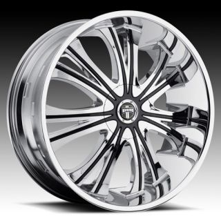 26 DUB Mamba Wheel SET 26x9.5 Chrome Rims for 5 & 6 LUG RWD Vehicles