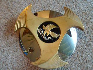 True Spoke 3 Prong Gold/Chrome Cover Center Cap (1)/
