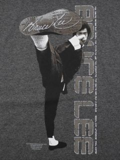 Bruce Lee Kick T Shirt Charcoal Martial Arts Yin Yang BABA