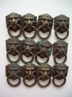 Huge LOT BRASS Lion Head Drawer Pulls,Vintage at Least