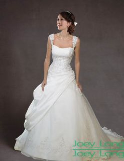 Line White/Ivory/Ch ampagne Wedding Bridal Gown Evening Dress Stock
