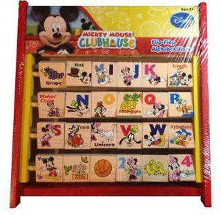 Disney Mickey Mouse Club House Wooden Flip Flop Abacus Alphabet Blocks