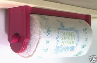Paper towel holder wall under cabinet wood red kitchen