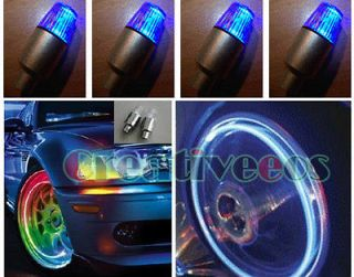 4x Bike Car LED Wheel Tire Valve Caps Lights Flash Blue