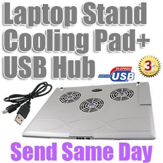Slim 3 Fan USB LED Cooler Cooling Stand Pad Mat For Dell HP Acer