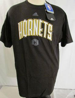 Adidas Hornets Black Logo Mens Shirt S/S NBA Basketball Large L 5