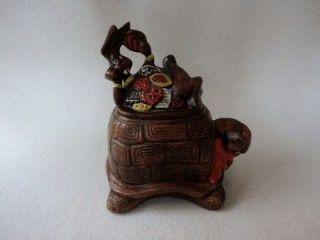 Vintage Turtle & Rabbit Cookie Jar Handpainted Made in USA Ceramic