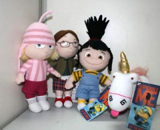 Despicable Me Agnes Margo Edith Girls & Unicorn Stuffed Plush Toys Set