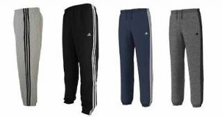 NEW ADIDAS ESSENTIALS MENS 3 STRIPE FLEECE JOGGERS TRACKSUIT BOTTOMS