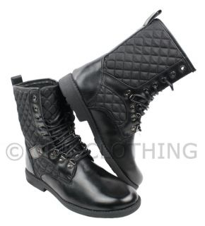 Mens Black Leather Boots Combat Style Army Worker Military Punk Goth