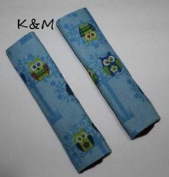 Handmade Booster/Adult Car seat belt covers   A Pair Of Owls