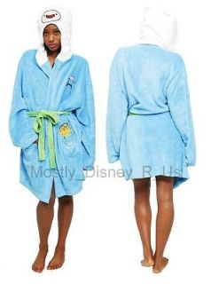 Adventure Time With Finn and Jake Fleece Hooded Robe Comfy Costume New