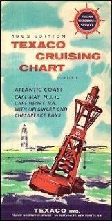 1962 TEXACO CRUISING CHART Atlantic Coast Cape May Chesapeake Bay