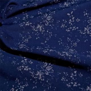 Reversible Cotton Fabric, Screen Print White Airy Flowers on Blue, BTY