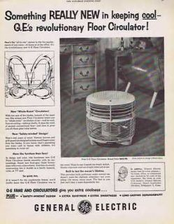GENERAL ELECTRIC FLOOR CIRCULATOR FAN COOLING VINTAGE PRINT AD