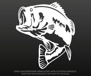 Largemouth Bass Decal 5x4.1 WHITE Fishing Boat Fish Tackle Vinyl