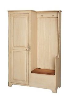 Primitive Settle Bench Entryway Storage Hall Armoire Farmhouse Country