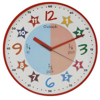 Colourful Teach the Time nursery childs kids quartz Wall Clock RED
