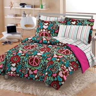 NEW Lucy Teen Girls Peace Hearts Cotton Bedding Comforter Sheet Set