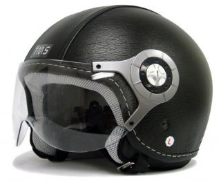 BLACK LEATHER MOTORCYCLE OPEN FACE JET PILOT HELMET~XL