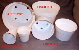 75+ mixed sizes WHITE PLASTIC FLOWER POTS