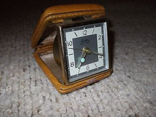 Black Forest Travel Alarm Clock in Brown Leather Case, Glow Arms