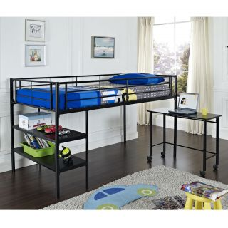 Twin Metal Loft Bed in Black or White Finish w/ shelves and Pullout