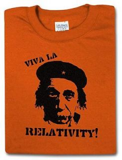 Viva La Relativity Albert Einstein T Shirt, Medium, Orange, Ships