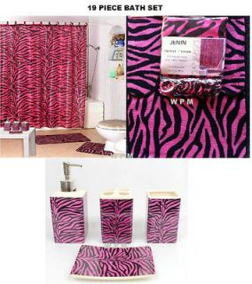 New pink zebra print striped safari comforter set sheets for Zebra print and red bathroom ideas