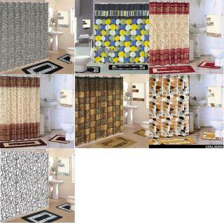18 piece Bath Rug Set shower curtain & towels  zebra leopard coffee