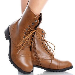 Lace Up Round Toe Combat Army Womens Platform Flat Ankle Boots Size 6