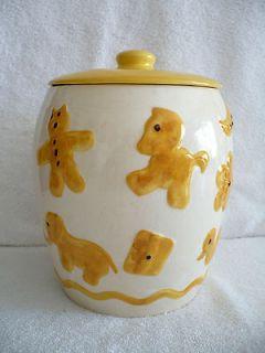 Vintage White & Yellow Ceramic Cookie Jar Cat Horse Duck Clover Star